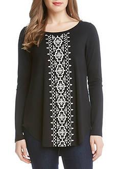 Karen Kane Long Sleeve Embroidered Top