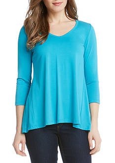 Karen Kane 3/4 Sleeve Shirred Contrast Back Top