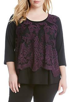 Karen Kane Plus Size Lace Overlay Top