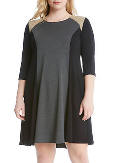 Karen Kane Faux Suede Yoke Colorblock Dress