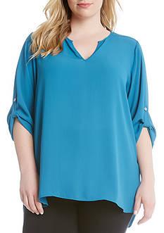 Karen Kane Plus Size Roll-Tab Shirttail Top