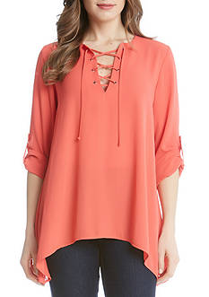 Karen Kane Lace-Up Roll Tab Top