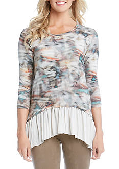 Karen Kane 3/4 Sleeve Sheer Hem Top