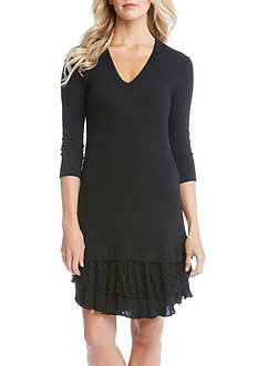 Karen Kane Lace Ruffle Sweater Dress
