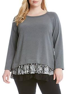 Karen Kane Plus Size Snake Print Inset Sweater