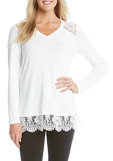 Karen Kane V-Neck Lace Inset Sweater