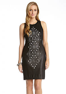 Karen Kane Red Sky Sleeveless Laser Cut Dress