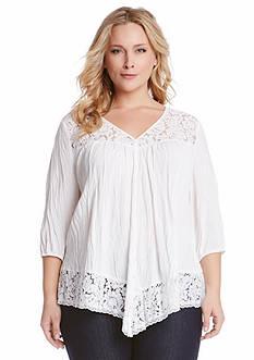Karen Kane Plus Size Lace Inset Top
