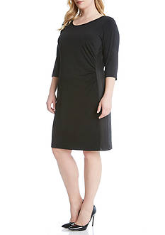 Karen Kane Plus Size Faux Leather Inset Dress