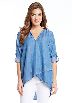 Karen Kane Chambray Wrap Top