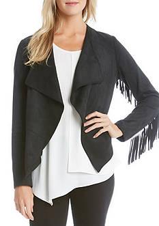 Karen Kane Faux Suede Fringe Sleeve Jacket