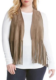 Karen Kane Plus Size Faux Suede Fringe Vest