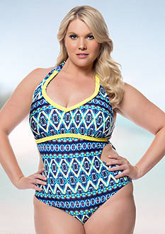 Jessica Simpson Plus Size To Dye For Halter One Piece