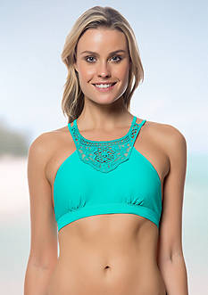 Jessica Simpson High-Neck Lace Panel Bra Top