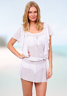 Jessica Simpson Flutter Sleeve Diamond Crochet Tunic