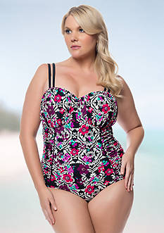 Jessica Simpson Plus Size It Girl Shirred U-wire Double Strap One Piece