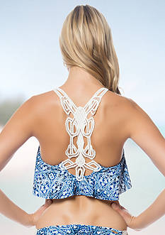 Jessica Simpson Indigo Crochet Back Flounce Bra