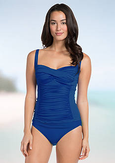 La Blanca Solid Over The Shoulder Tankini