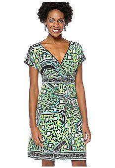 Madison Printed Surplice Dress
