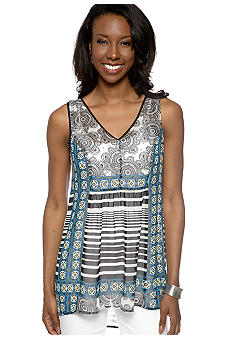 Madison Sheer Mixed Print Woven Tank