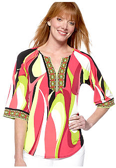 Madison Split Neck Retro Top