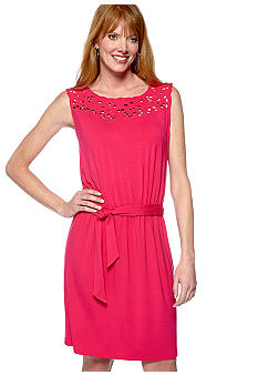 Madison Sleeveless Eyelet Yoke Dress