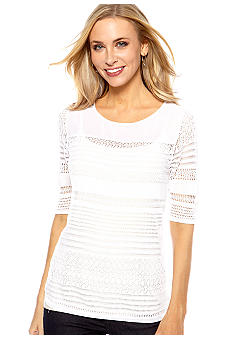Madison Pointelle Elbow Sleeve Sweater