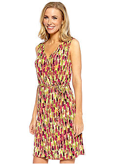 Madison Printed Faux Wrap Dress