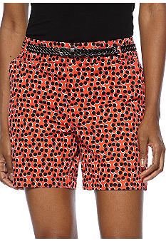 Madison Overlapping Dots Belted Short