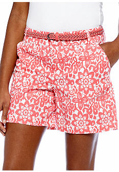 Madison Lace Print Belted Short