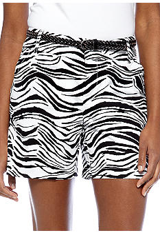 Madison Zebra Print Belted Short
