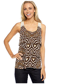Madison Tiered Animal Print Top with Crochet Detail