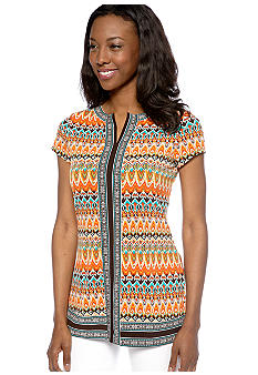 Madison Short Sleeve Border Print Tunic