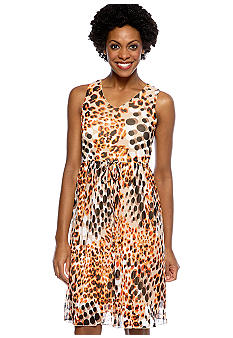 Madison Pleated Animal Print Mesh Dress