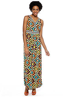Madison Crossover Printed Maxi Dress