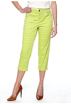 Madison Ikat Print Twill Crop Pant