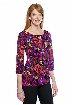 Madison Mesh Floral Peasant Top