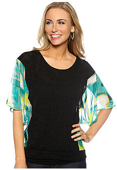 Madison Printed Mesh Sleeve Sweater