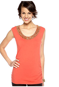 Madison Embellished Neckline Solid Knit