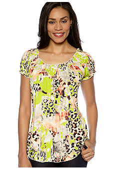 Madison Printed Smock Neck Top