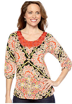 Madison Printed Embellished Neckline Top