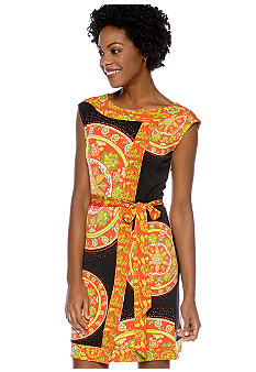 Madison Boat Neck Medallion Print Dress