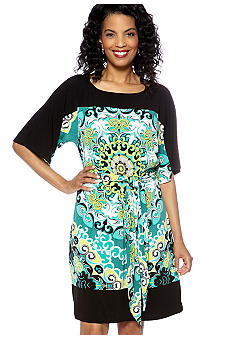 Madison Scarf Print Kimono Sleeve Dress