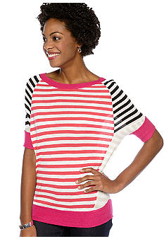 Madison Short Sleeve Wedge Striped Sweater