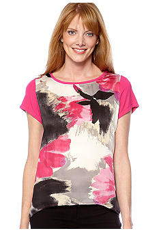 Madison Abstract Design Knit and Woven Top