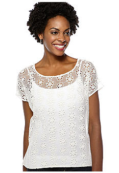 Madison Boxy Floral Embroidered Sheer Top