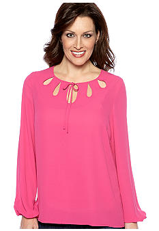Madison Keyhole Tie Neck Blouse