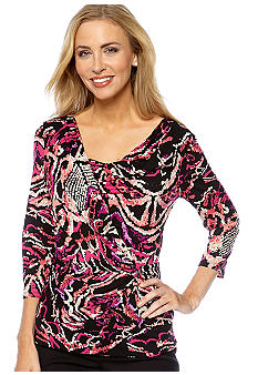 Madison Printed Knit and Woven Top