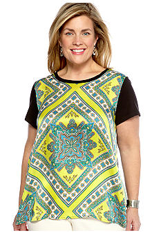 Madison Plus Size Knit And Woven Print Top