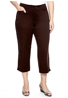 Madison Plus Size Solid Capri Pant